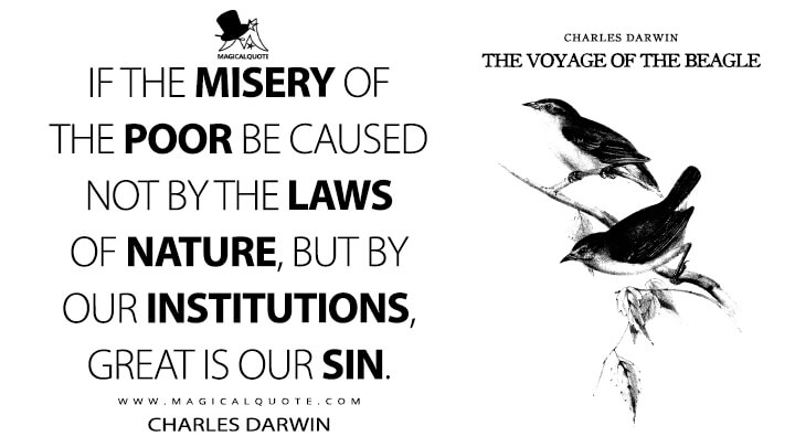 If the misery of the poor be caused not by the laws of nature, but by our institutions, great is our sin. - Charles Darwin (The Voyage of the Beagle Quotes)