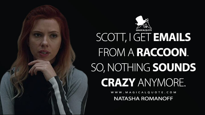 Scott, I get emails from a raccoon. So, nothing sounds crazy anymore. - Natasha Romanoff (Avengers: Endgame Quotes)