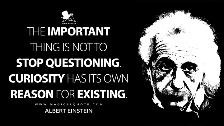 The important thing is not to stop questioning. Curiosity has its own reason for existing. - Albert Einstein Quotes